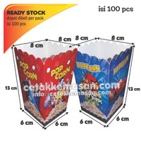 Box Popcorn Kartun Delicious uk 8x8x13 cm Foodgrade