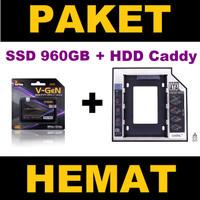 SSD 960GB V-GeN+HDD Caddy 12.7 mm/9.5 mm -DVD Slot to HDD Slot (PAKET)