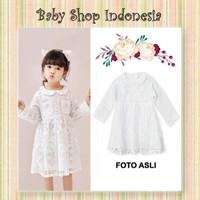 Dress Anak Putih Murah Dress Anak Import Brocade Putih Round Collar