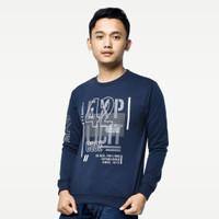 SEYES 1122 Tumblr Tee Sweater Baju Pria Babyterry Premium Navy