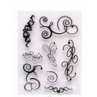Clear Stamp (Stempel Transparan/Bening) - Curly Lines Pattern