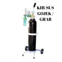 Tabung oksigen 1 m3 komplit (tabung, troly,regulator,selang oksigen)