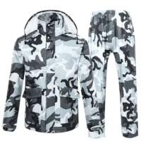 Camouflage Adult Raincoat Rain Pants Rain Coat Hat Poncho Set