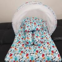 Babybess Kasur Bayi Kelambu Lipat Panda Biru Tempat Tidur Bayi