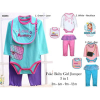 FAKE BABY GIRL JUMPER 3 IN 1 / 66044 / BAJU BAYI PEREMPUAN / SLABER