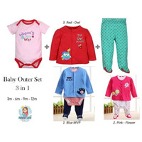 BABY OUTER SET 3 IN 1 - 66043 - BAJU BAYI - BABY SET JUMPER - NEW BORN
