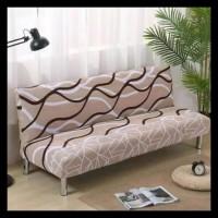 Promo Murah Meriah Cover Sofa Bed / Sarung Sofa Bed - Coklat Salur