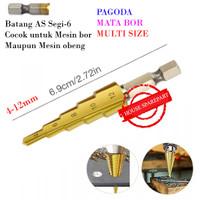 Mata Bor Multi Step 4-12mm Pagoda Tangga Payung Drill Bits Size Ukuran
