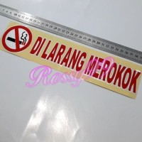 Stiker DILARANG MEROKOK Sticker Logo No Smoking Merah List Putih 30cm