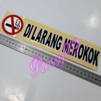 Stiker DILARANG MEROKOK Sticker Logo No Smoking Hitam List Putih 30cm