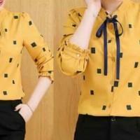 Baju Atasan Wanita Kemeja Wanita Kem Ribbon Yellow Tathe.809