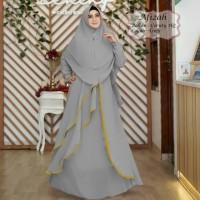 Baju Muslim Gamis Tk Syari Ceruty Afizah Grey Tatop.178