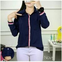 Baju Atasan Wanita Kemeja Moussy Navy Tasm.51