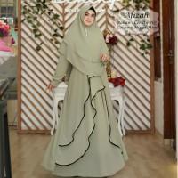 Baju Muslim Gamis Tk Syari Ceruty Afizah Green Tatop.178