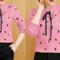 Baju Atasan Kemeja Wanita Kem Ribbon Pink Tathe.809