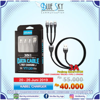 PROMO KABEL CHARGER 3 IN 1 FAST CHARGING 3A