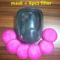 Terlaris Masker Gas Full Face dengan 6 Round Filter BC6800 TERLARIS