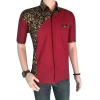 Harga model baju batik pria lengan pendek kombinasi prada | antitipu.com