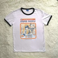 Unisex Vintage Style Funny Let's Find a Cure For Stupid People Printed