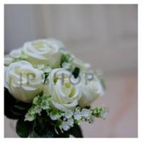 ARTIFICIAL ROSE WHITE BOUQUET BUNGA MAWAR PUTIH BUKET PALSU HIASAN