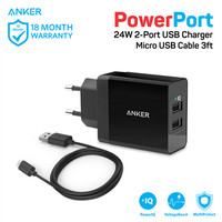 Anker PowerPort 2 Dual Wall Charger + Micro USB 3ft - Black [B2021L11]