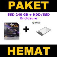 """SSD 240GB V-GeN + HDD SSD Enclosure ORICO 2139U3 2.5"""" Inch (PAKET)"""