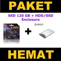 """SSD 120GB V-GeN + HDD SSD Enclosure ORICO 2139U3 2.5"""" Inch (PAKET)"""