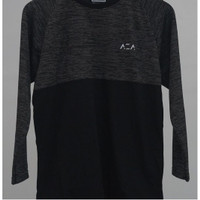 AZA LONG BASIC TWO COLOUR T-SHIRT - BLACK