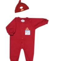 Miyo red set baju kodok panjang dan topi NB