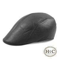 houseofcuff topi pelukis painter hat pet newsboy kulit leather hitam