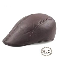 houseofcuff topi pelukis painter hat pet newsboy kulit leather brown