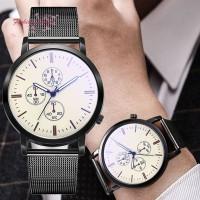 Jam Tangan Quartz Klasik Dial Bulat Besar Strap Mesh Alloy untuk Pria