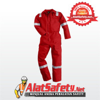 Wearpack Merah Garis Putih / Wearpack Bengkel Best Quality