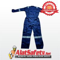 Wearpack Biru / Navy Garis Putih / Wearpack Bengkel Best Quality