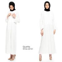 Just Mom Nursingwear Kaftan Menyusui Quetta White Lace QT101