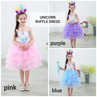 GA2694 UNICORN PARTY DRESS PINK .. BAJUKIDDIE DRESS ANAK KUDA PONI