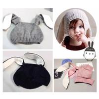 topi kupluk import rajut kelinci 1 - 3 tahun dengan telinga lucu KAK