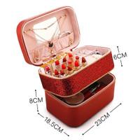 Tas Perhiasan kosmetik make up wanita merah cantik elegan 20207 impor