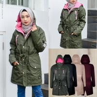 Jaket Muslimah panjang syari hijaber Hijacket Montix MOSSGREEN
