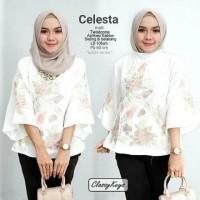 Best baju kerja muslim wanita warna putih motif bunga untuk ke kantor