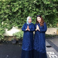 gaun/dress muslim pesta navy biru dongker silver eliesaab