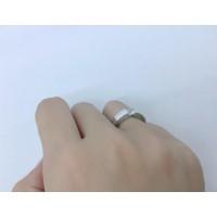 Baru Cincin Silver Lapis Emas Putih Pria Wanita Batu Berlian Putih -