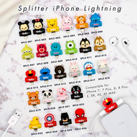 [Kode 021-026] 2 In1 Audio & IPhone Lightning Adapter Splitter-CARTOON