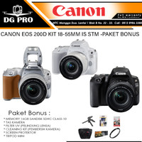 CANON EOS 200D KIT 18-55MM IS STM PAKET BONUS - KAMERA SLR CANON WIFI