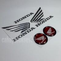 Sticker Motor Timbul Logo Wings Sayap Honda Silver Stiker Bulat Merah