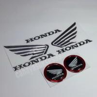 Sticker Motor Timbul Logo Wings Sayap Honda Silver Stiker Bulat Black