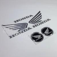 Sticker Motor Timbul Logo Wings Sayap Honda Silver Stiker Bulat Hitam