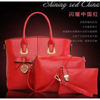 tas hand tote bag jinjing paket 3 buah hitam emas merah besar import