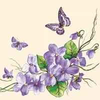 Tisu / Napkin Decoupage Grosir - 33x33 cm - Violet Flowers