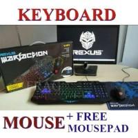 Keyboard Mouse Gaming Rexus Warfaction Vr1 Backlight Free Mousepad Rex